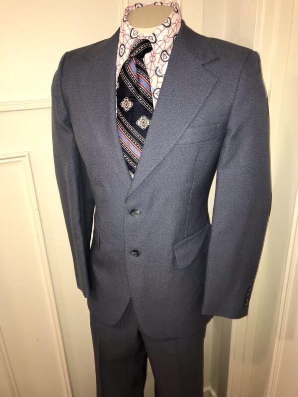 Vtg 60s 70s Blue 2 PIECE Polyester SUIT Mens 40 L Jacket Coat 34 31 pants Disco
