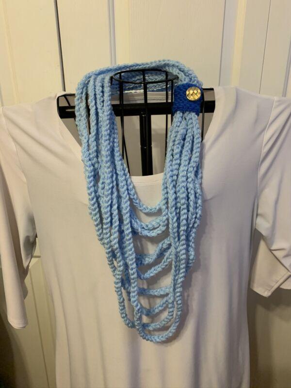 Handmade Crochet Infinity Cowl Scarf In Light Blue