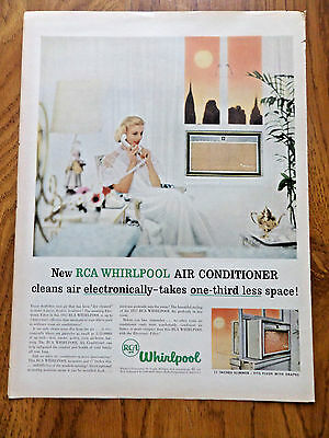 1957 RCA Whirlpool Room Air Conditioners Ad Cleans Air Electronically