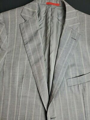 Isaia Gray Stripe Sport Coat Jacket Sz 44R Made in Italy Surgeon's Cuffs