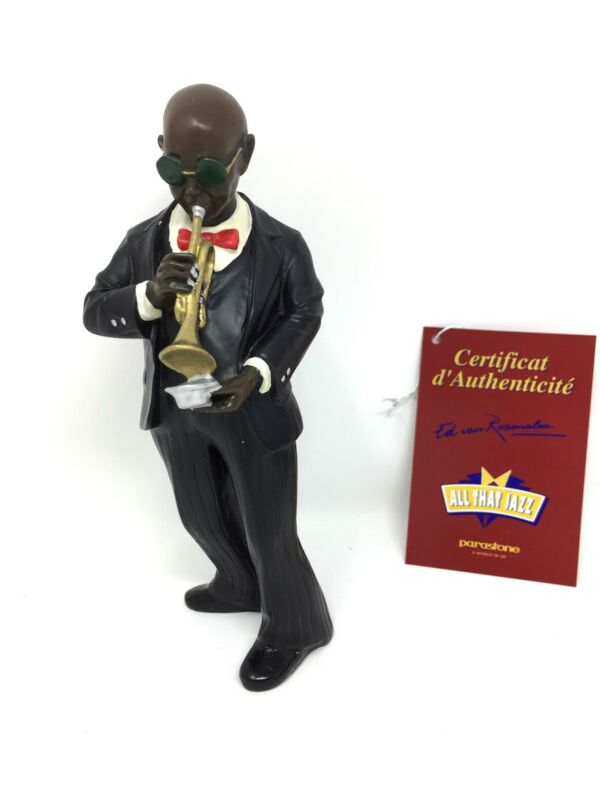 Trumpet Player with Mute Figurine Jazz Blues Musician Brass Horn Player Statue