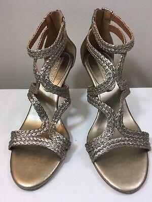 Banana Republic Metallic Gold Leather Braid Ankle Strap High Heel Sandal Size 10 Metallic Braid Strap Sandal