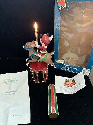 A Mickey Carousel Tree Top Or Table Piece Mr. Christmas With Box