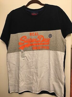 Super Dry Running T-shirt - Superdry Graphic Men Tee Size 2XL Run Small Colorblock Cotton/Polyester