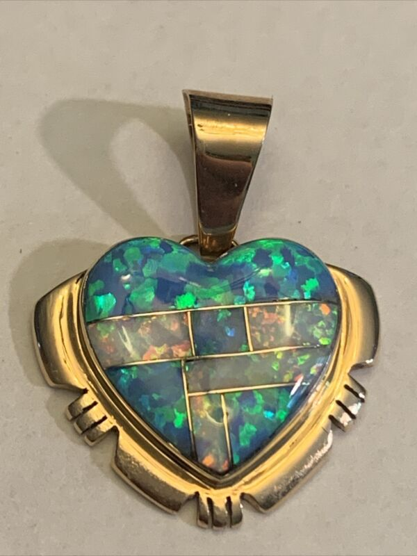 14K Inlay Lab Blue/White Heart Pendant 3.53 Grams Signed