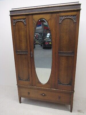 Antique Oak Mirror Fronted Wardrobe Good Colour Great Value Armoire