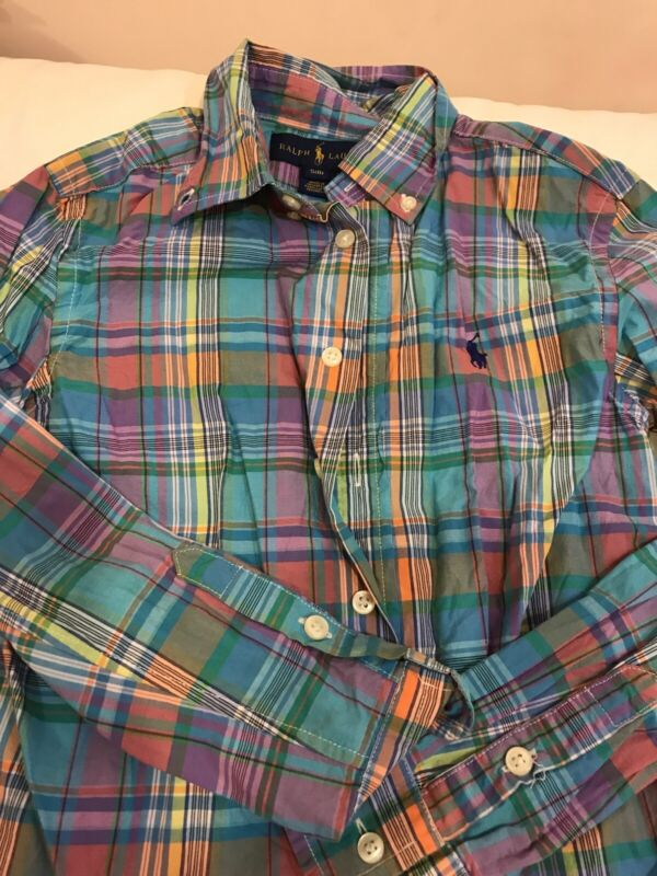 Ralph Lauren Boys Button Down Shirt Blue Plaid Sz 8