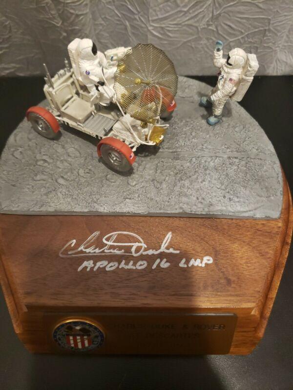 RARE Charlie Duke SIGNED Lunar Model and Rover at Descartes Apollo 16