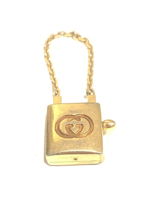 Vintage Authentic Gucci GG Padlock Chain Key Fob Keychain Chain
