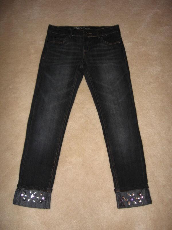 NWT $42 Girls DKNY Rocker Dark Wash Gem Cuff Skinny Jeans - size 12