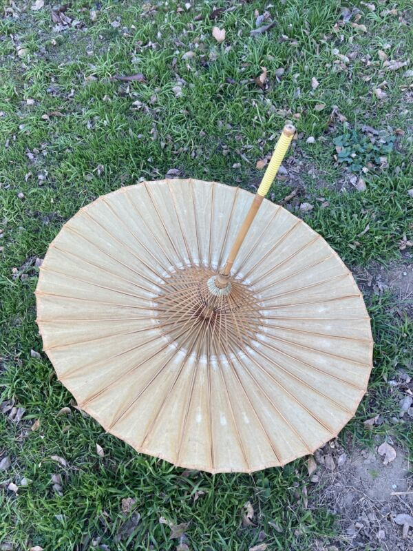 Antique Asian Bamboo Paper Umbrella Large