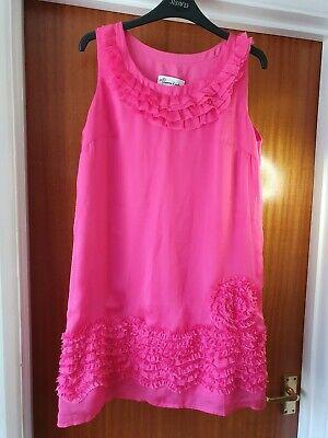 Womens size 12 silk blend sleeveless tunic dress fuscia pink Jovonna london