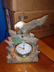 Vintage Resin Perched Eagle Figurine w/ Apple Quartz Clock
