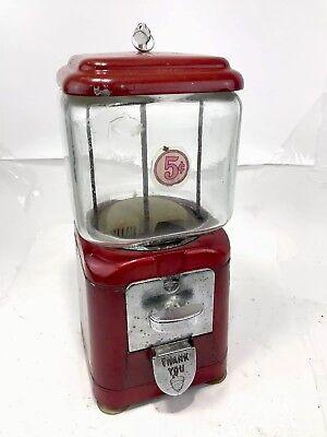 "Rare Vintage Oak Acorn Small ""Baby"" 5 Cents Gum Ball Vending Machine Key Red  LA"