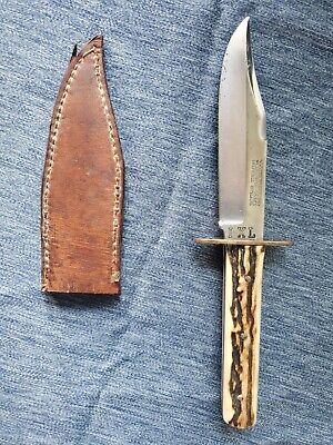 VINTAGE G WOSTENHOLM & SON BOWIE HUNTING KNIFE IXLSHEFFIELD ENGLAND W/ SHEATH