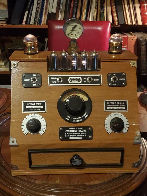 Custom Steampunk Spirit of St. Louis radio, tubes, steam gauge, working, cassete