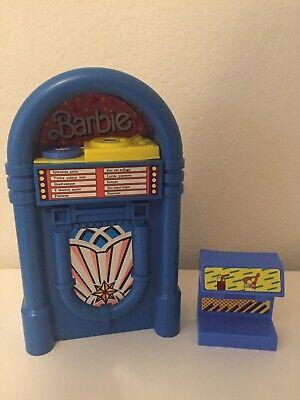 VTG Barbie Doll Jukebox Blue Snack Time Play Set Song Spanish Titles Mattel Toys