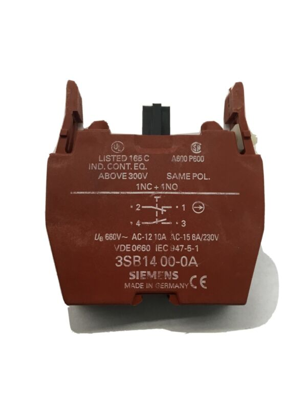 3SB1400-0A SIEMENS 10A 660V CONTACT BLOCK 1 Norm Open 1 Closed Momentary