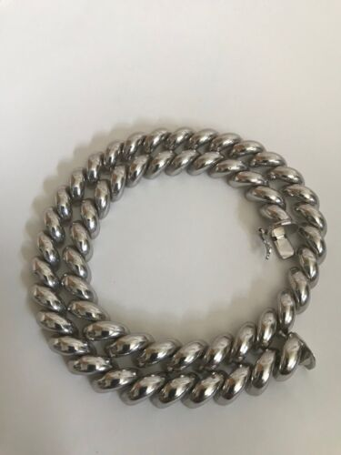 """Vintage Sterling Silver Curb Link Collar Necklace Chain 18"""""""