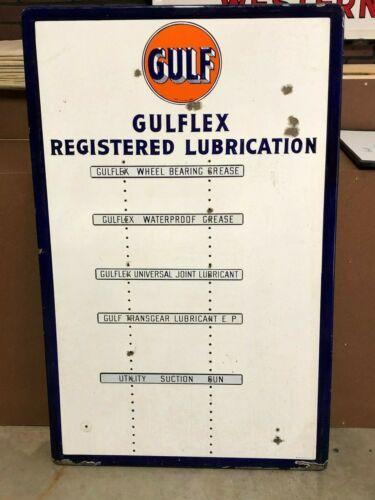 Vintage GULF GULFLEX REGISTERED LUBRICATION Sign PORCELAIN Gas Oil Grease Rack