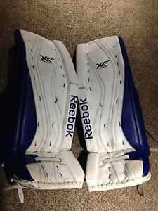 REEBOK GOALIE PADS, GLOVE AND BLOCKER
