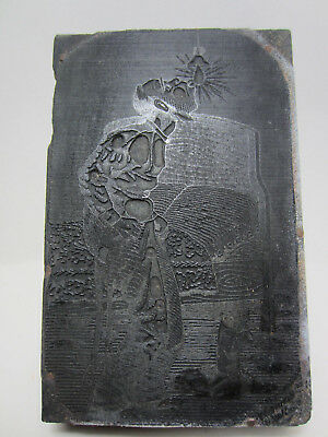 Ant Etched Lead Printer Block - Man Blowing Out Light Bulb- Findlay Ohio Pb3