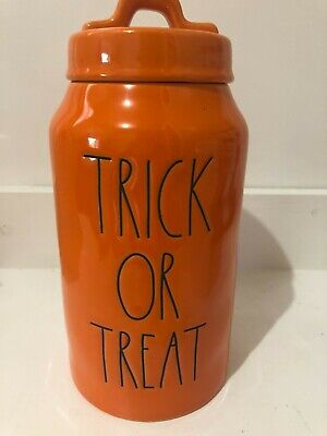 Rae Dunn Magenta Orange TRICK OR TREAT Halloween Canister