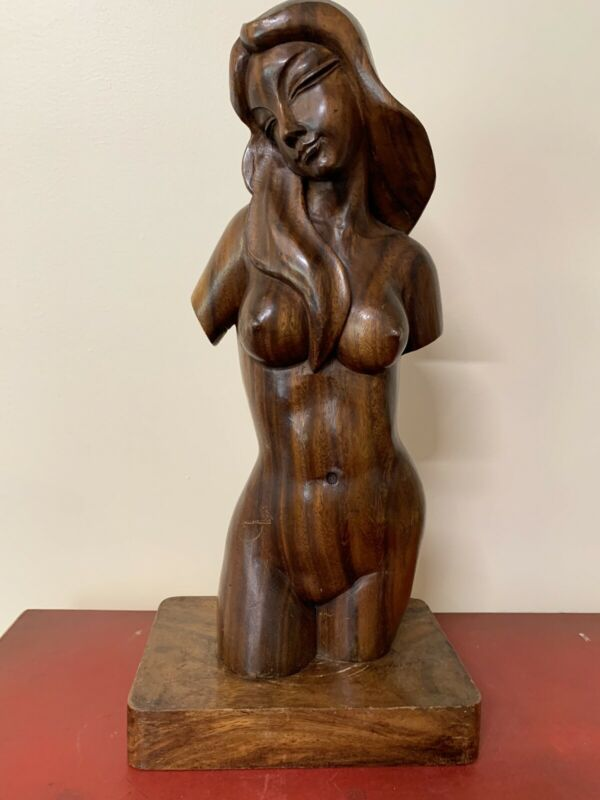 Large Mid-century Carved Sculpture Of Nude Woman Mint Condition