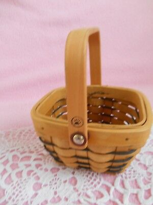 Vintage  Small Rectangular  Woven Pale Brown / Black  Basket  With Wooden Handle ()