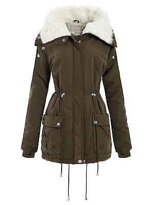 Cargo Fleece Parka (New Ladies Curve Long Cuff Sleeve Coats Fleece Neck Cargo Parka Jackets 18-24)