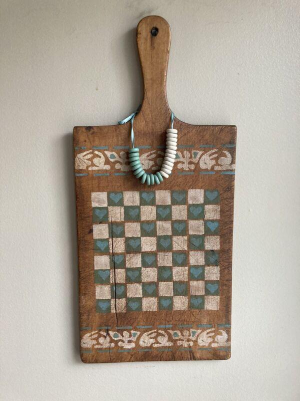 "Primitive Antique Wood Cutting Board / Folk Art Painted Checkerboard 16.5"" x 7.5"