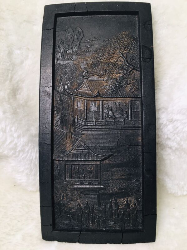 HUGE * Antique Chinese Ink Block Stone Stick Poem & Carved Painting * Very Old!