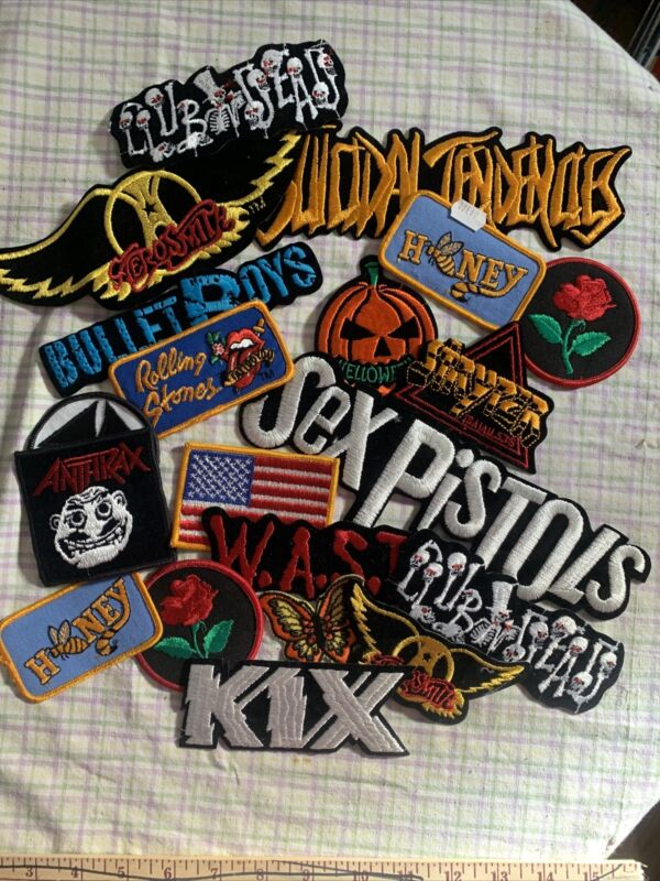 """Lot Of 20 Vintage Rock Band Patches  70's 80's 4""""-9"""""""