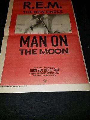 R.E.M. Man On The Moon Rare Original UK Promo Poster Ad Framed! #3