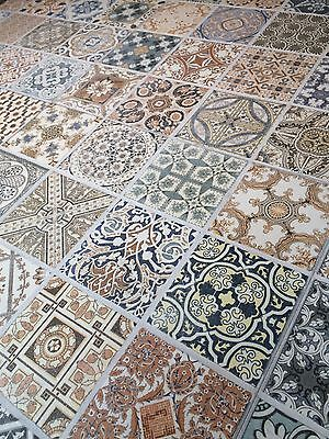 44x44 cm Porcelain Moroccan Style Floor & Wall Patchwork Tiles £20.50 - 5 Tiles!