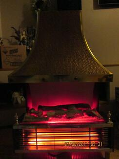 HEATER   copper top with fake logs  bar electric heater