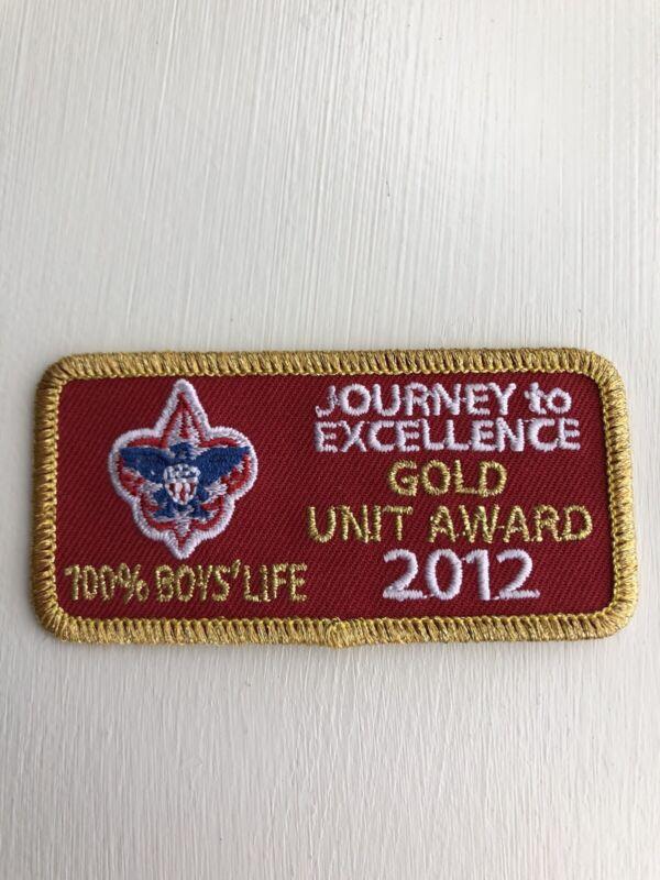 BSA Uniform Emblem - 2012 Journey to Excellence Gold Unit Award 100% Boys Life