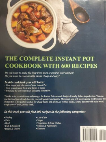 Instant Pot Pressure Cooker Cookbook 2019 by Olivia Jenkins NEW! 600 Recipes!! 1