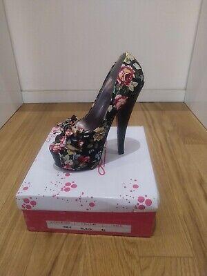 Donna scarpe Sexy Décolleté Open Toe Alte Con Tessuto Fiori Nere Brand Sofi nuov