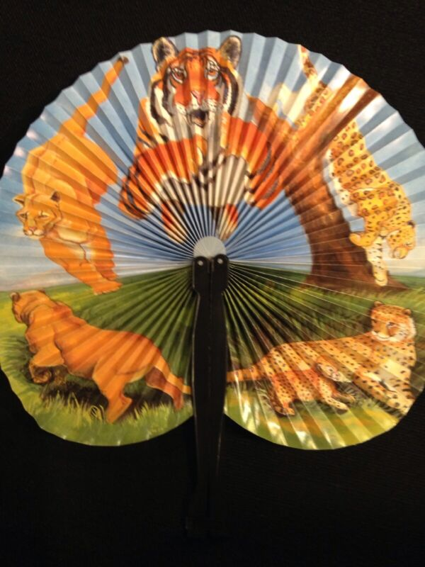 """Vintage and Rare Asian Folding Paper Fan With Lions Wildlife Scenery 9"""" x 10"""""""