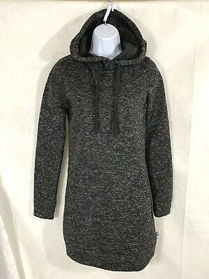 NWT Fabletics Womens Heather Black Yukon Hoodie Hooded Sweatshirt Dress Sz XS /4