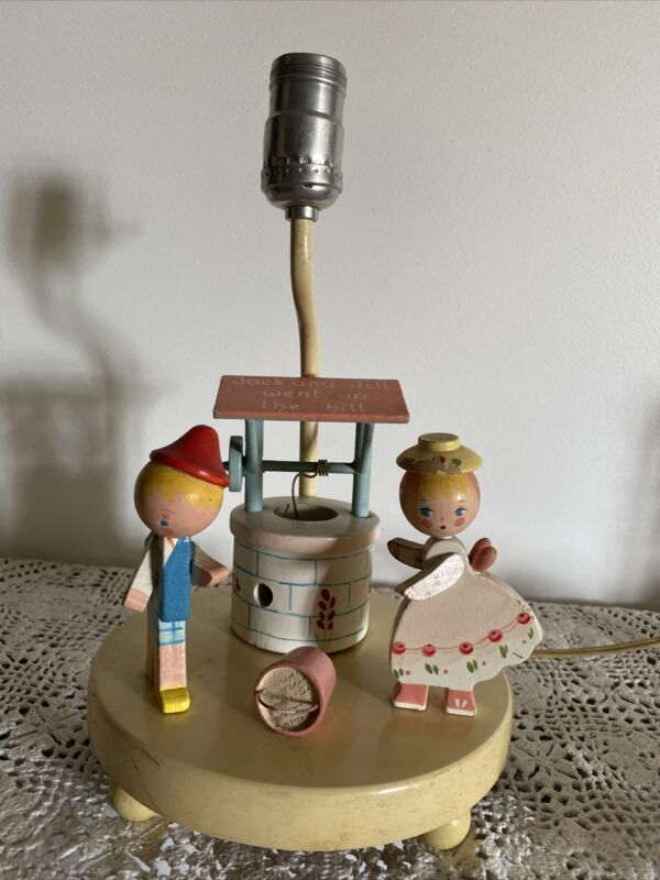 Vintage Wooden Jack and Jill Nursery Lamp - Tested