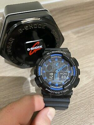 Casio G Shock 5081 Ga-100 Black With Blue Camo Face Antimagnetic Watch With Tin