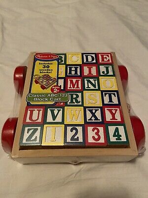 Melissa & Doug Classic ABC 123 Alphabet Wooden Block Cart 30 Wood Blocks NEW