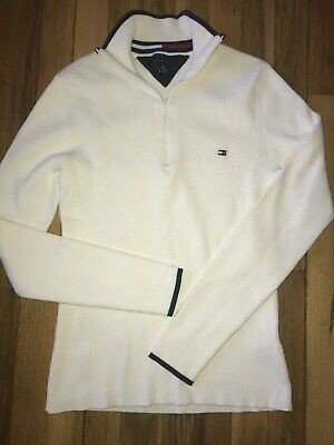 Tommy Hilfiger Off White Ivory Zip neck  Sweater M