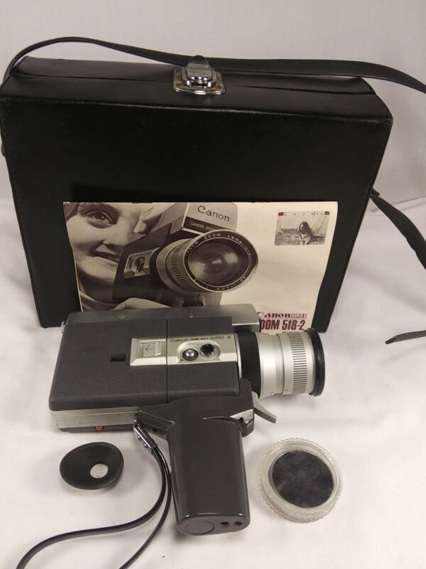 Canon Zoom 518-2 SV Super 8 Movie Camera  with Case, Manual, Eye Piece, and Lens
