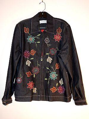 Women's Alfred Dunner Dark Black Denim W/Embroidered Flower