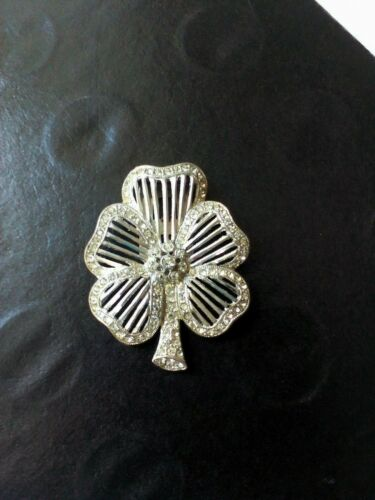 Clover Clip Shoe Buckle Single Art Deco Rhinestones