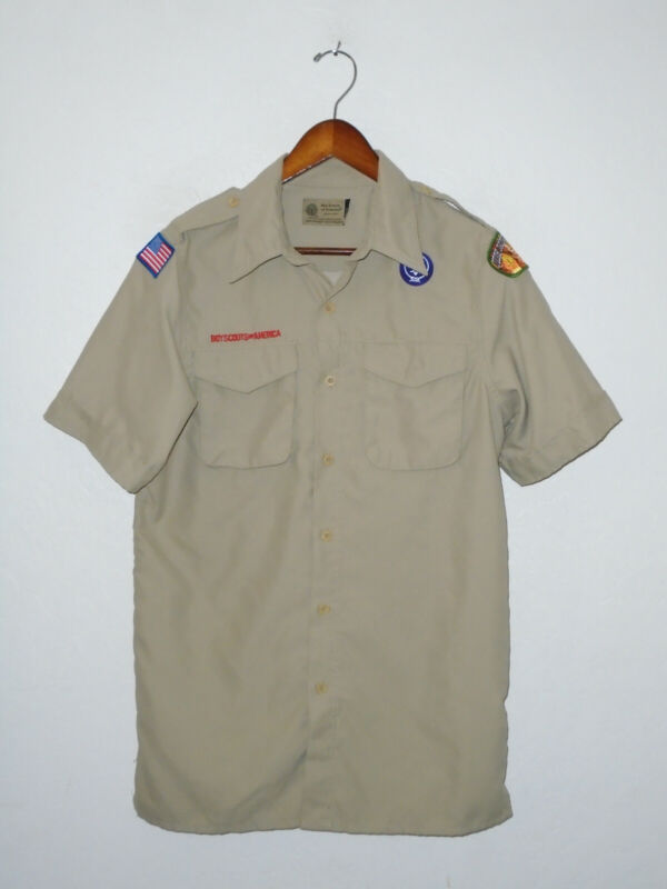 BOY SCOUTS Of America UNIFORM Shirt VENTED Polyester BSA Adult Mens SMALL Sm