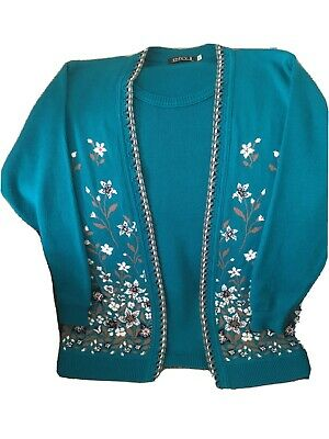 Ladies Vintage Cardigan Jumper Twin Set Look Jade Embroidered 14 - 16